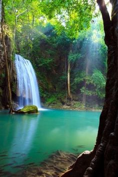 Waterfall in Erawan national park, northwest Kanchanaburi Beautiful Waterfalls, Beautiful Landscapes, Places To Travel, Places To See, Erawan National Park, Places Around The World, Around The Worlds, Beautiful World, Beautiful Places