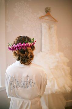 Strapless wedding gown + ivory bridal robe - Anna Kim Photography