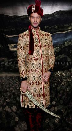 Mens wear, groom wedding dress, groom sherwani, indo western, sherwani indo western,  designer sherwani, marriage sherwani, indian wedding wear, heavy sherwani www.statusindiafashion.com
