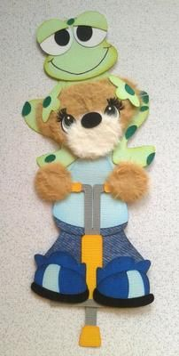 Boy on Pogo Stick with Cute Frog Piecing Kids Summer Spring Tear Bear Kira | eBay