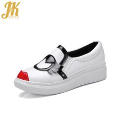 J&K 2017 Women's Vulcanize Shoes Stylish Colored Pattern Flat Thick Sole Women Shoes Casual Slip on Round toe Shoes Platform