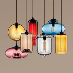Modern üfleme cam sarkıt aydınlatma, el üfleme cam sarkıt aydınlatma, cam ampul kolye lamba