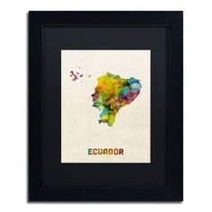 "Trademark Art Ecuador Watercolor Map by Michael Tompsett Framed Graphic Art Size: 14"" H x 11"" W x 0.5"" D"