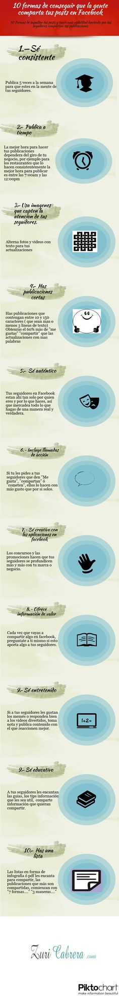10 formas de que compartan tus posts de #FaceBook. #infografia #socialmedia