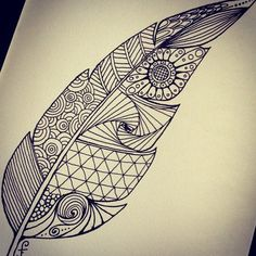 zentangle notebook step by step Ink Pen Drawings, Doodle Drawings, Easy Drawings, Doodle Art, Zen Doodle, Feather Drawing, Feather Art, Drawing Art, Geometric Drawing