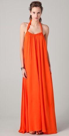 Riller  Fount India Gathered Halter Maxi Dress