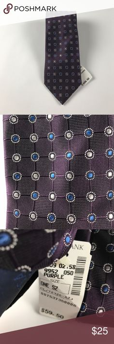 New Jos A Bank Silk Neck Tie Purple Geometric New Jos A Bank Accessories Ties