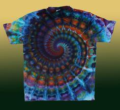 Tie Dye Dark Bright TShirt Size XXL Psychedelic Spiral Swirl Shirt Sacred Geometry Boho by OtdelMaljaraTieDye on Etsy