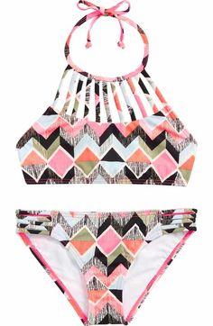 ef2bc86444119 Billabong Nor-Ditsy Soul Two-Piece Halter Swimsuit (Little Girls   Big Girls)