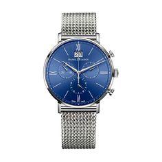 Reloj Maurice Lacroix Eliros crono esfera azulo armys de malla milanesa