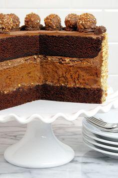 Chocolate Nutella Cheesecake Cake by WickedGoodKitchen.com ~ Chocolate-Hazelnut Velvet Cake with Nutella Cheesecake and Chocolate-Nutella Cr...