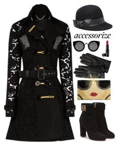 """accessorize."" by valsal ❤ liked on Polyvore featuring Burberry, Quay, Salvatore Ferragamo, Alice + Olivia, Banana Republic, Bebe, Laura Geller and accessorize"