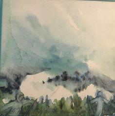 #279, aquarelle, 1978, 5,25'' x 5'', 35$, encadré Paradis, Painting, Art, Volcanoes, Watercolor Paintings, Art Background, Painting Art, Kunst, Gcse Art
