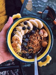 Home made granola in the bowl with bananas, blueberrys and oat milk. Bananas, Granola, Acai Bowl, Milk, Homemade, Breakfast, Sweet, Food, Acai Berry Bowl