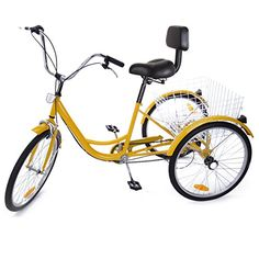 Complete Cruiser Bikes - Iglobalbuy Yellow 24 6Speed 3 Wheel Adult Bicycle Tricycle Trike Cruise Bike *** Click image for more details.