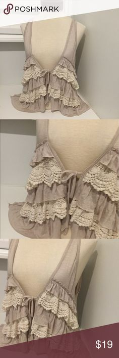 ELODIE RUFFLE LACE ANTHROPOLOGIE VEST Gently used TIES in the front Anthropologie Tops Blouses