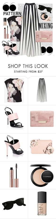 """""""Pale pink with monochrome"""" by alice-through-the-looking-glass ❤ liked on Polyvore featuring Oris, Ted Baker, Tome, Giuseppe Zanotti, Too Faced Cosmetics, MAC Cosmetics, Ray-Ban and NARS Cosmetics"""