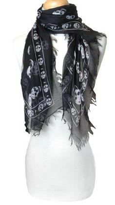 Celebrity Trended Black & White Skulls Fashion Scarf $9.95