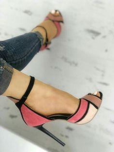 Shop Colorblock Ankle Strap Thin Heeled Sandals right now, get great deals at Joyshoetique. Shop Colorblock Ankle Strap Thin Heeled Sandals right now, get great deals at Joyshoetique. Pumps Heels, Stiletto Heels, Heeled Sandals, Shoes Sandals, Strappy Shoes, Sandals Outfit, Heeled Boots, Ankle Shoes, Flats