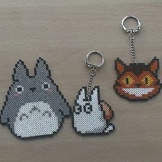 Totoro characters perler bead sprites by PixelBeadPictures