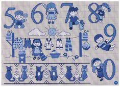 Easy Cross Stitch Patterns, Simple Cross Stitch, Cross Stitch Baby, Cross Stitch Letters, Stitch Pictures, White Crosses, Alphabet And Numbers, Delft, Free Pictures