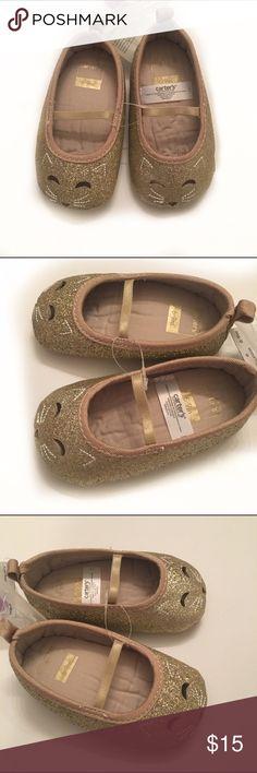 🎉🎉HP🎉🎉NWT NWT Carter's Sparkly gold cat ballet crib  shoes. HP 1/22 mkwarren93 Carter's Shoes Baby & Walker
