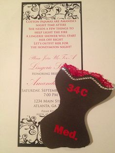 Red and Black Lingerie Shower or Bachelorette Party Bridal Invitations with lingerie size insert on Etsy - Southern Rose Designs
