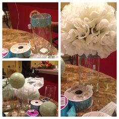 Affordable Wedding Reception Decorations. Flowers  Dollar Tree Vase  Dollar  Tree Blue Bling Ribbon