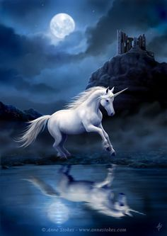 The unicorn is a legendary animal from European folklore that resembles a white horse.