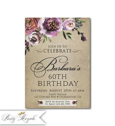 Womens Birthday Invitations 70th Invite For Her 80th 90th Birthdays Or Any Age Woman Printable File Printed C