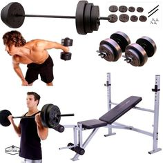 Weight Bench Set Press With Weights And Bar Dumbells Adjustable 140 Lb Home Gym #GoldsGymCap
