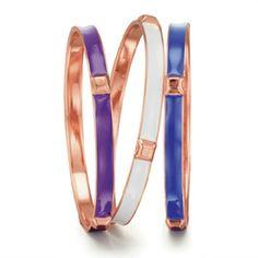 AVON Outspoken Fergie Bangle Set Rose Gold Plated. Purple,  White & Blue Enamel. 3pc set. Avon Jewelry Bracelets