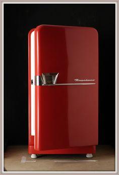 A retro red refrigerator. #red #retro #appliances