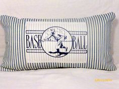 Decorative Baseball Pillow  French Ticking by JulieButlerCreations, $25.00