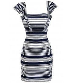 Navy and Ivory Stripe Bandage Sweater Dress