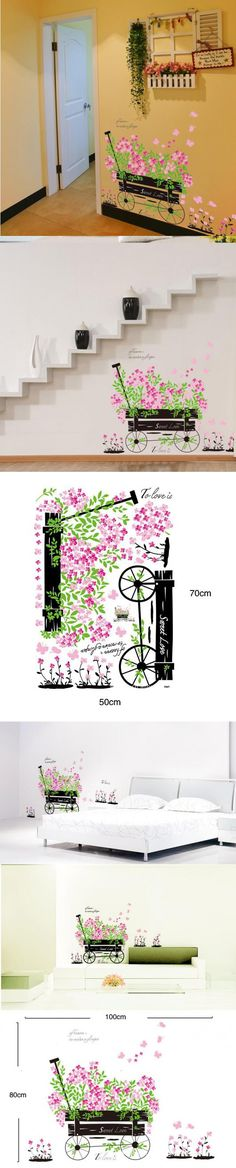 Elegant pink flora bike romantic Sweet Love home decals wall stickers mural art for girls room wedding living room decoration $3.83