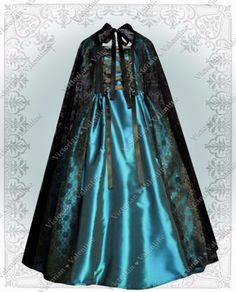 Victorian-Civil-War-Steampunk-History-Gothic-Turquoise-Dress-Gown-Lace-Cape-XL