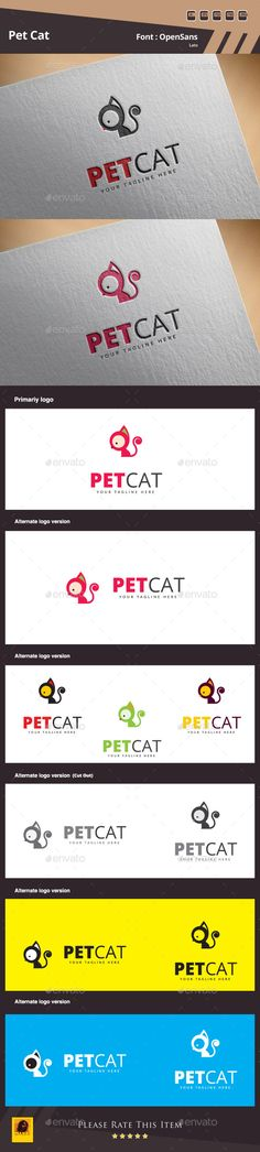 Pet Cat Logo Template — Photoshop PSD #music #simple • Available here → https://graphicriver.net/item/pet-cat-logo-template/10954358?ref=pxcr