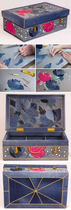 Needlework accessories bag, Organizer, denim, Patchwork http://www.free-tutorial.net/2017/04/jeans-suitcase-for-needlework.html