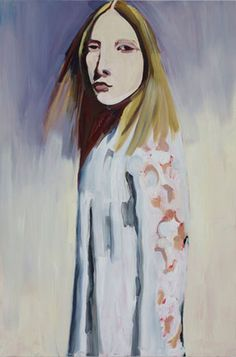 Chantal Joffe, Blonde in a Lace Coat, 2012. Oil on board,  72-1/8 x 47-7/8 inches.  Courtesy of Cheim & Read