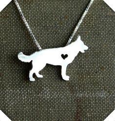 German Shepherd with a Heart Pendant w/ Necklace