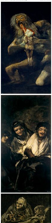 Francisco José de Goya y Lucientes  Black Period — 1819-1823 Saturn Devouring his Son, 1819-23.  Women Laughing, 1819-23.   Two Old People Eating, 1821-23.   Witches' Sabbath, 1821-23.   Museo del Prado, Madrid, Spain.