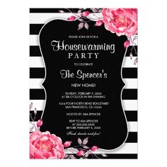 A botanical black and white striped floral rehearsal dinner invitation template with pink watercolor peonies. Perfect for a stripe and flower themed wedding rehearsal. Housewarming Party Invitations, Couples Shower Invitations, Bachelorette Party Invitations, Rehearsal Dinner Invitations, Bachelorette Weekend, Custom Wedding Invitations, Birthday Invitations, Bridal Shower Flowers, Bridal Shower Cards