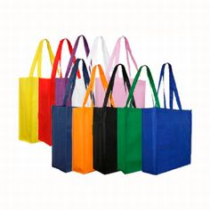 NON WOVEN LARGE TOTE BAG (WITH GUSSET)  Price includes 1 color, 1 position print   2 Color imprint available for an additional charge  Get your promotional tote bags ordered today for wider brand exposure!  The perfect size for carrying around textbooks, trade show and expo items or any number of other practical uses, these non-woven tote bags will be carried around, constantly displaying your logo.