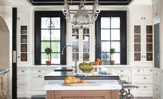black kitchen windows, hardware, black and white