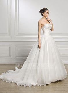 [€ 187.38] Duchesse-Linie Herzausschnitt Hof-schleppe Organza Brautkleid mit Rüschen Perlen verziert Pailletten (002056923)