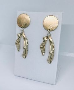 """》 A lightweight pair of statement earrings - made in gold. 》 Made using raw brass. 》 Measure L: 2 1/4 W: 3/4"""" These lightweight statement earrings can be dressed up, or dressed down! Great gifts. If you have any questions, please feel free to message me Moon Earrings, Tassel Earrings, Pearl Earrings, Gold Statement Earrings, Fashion Earrings, Great Gifts, Brass, How To Make, Handmade"""