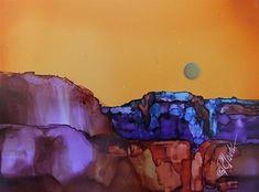 "Daily Paintworks - ""Distant Teal, 5 x 7 Alcohol Ink, Landscape"" - Original Fine Art for Sale - © Donna Pierce-Clark"