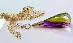 Large bicolor ametrine 14k gold-filled pendant with chain by Emmalishop