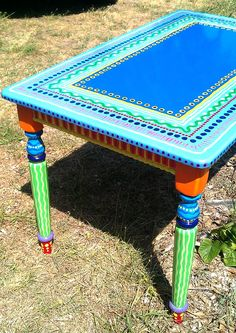 SOLD sample of CUSTOM WORK- Kitchen Table- Custom Hand Painted Furniture Made to. - Möbel restaurieren o. Funky Painted Furniture, Painted Chairs, Colorful Furniture, Paint Furniture, Repurposed Furniture, Furniture Projects, Furniture Makeover, Cool Furniture, Painted Tables